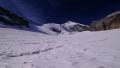 pohled na Hohlaubgletscher poté, co jsme na něj sestoupili tunelem od prostřední stanice Alpin Metra ...
